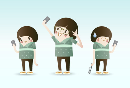 using smartphone: Selfie, Young people using Smartphone take a photo itself Illustration