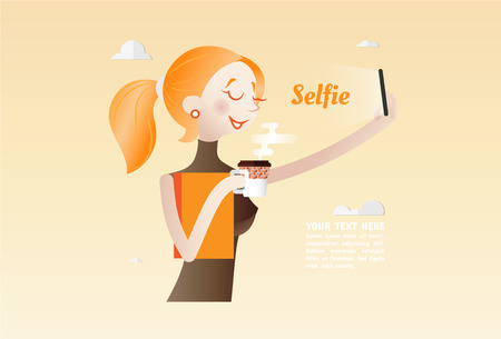 using smartphone: Selfie, Young Woman using Smartphone take a photo itself