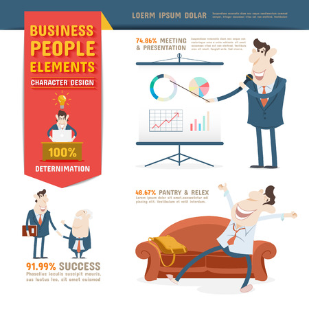 character of people: Business People Character Design Elements Illustration
