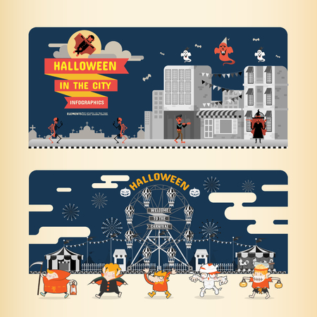 cute background: Halloween in the City infographics