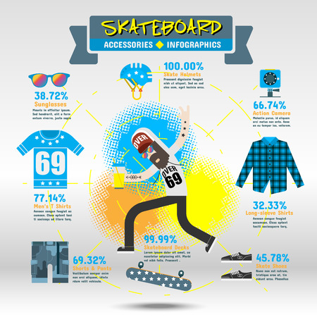 skateboard boy: Skateboard Accessories Infographics