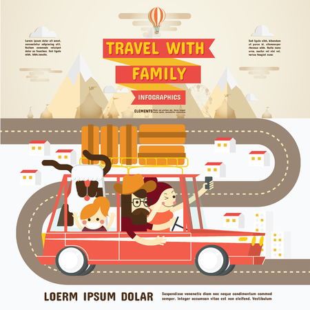 drive ticket: Travel with Family Infographics Vector and Illustrations