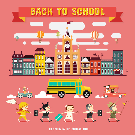 human vector: Back to School, Design Elements of School and Education, vector Illustrations Illustration