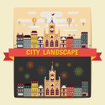 City Landscape, Element of City Landscape view Day and Night scene Vector Illustrations Vettoriali