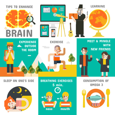 enhance: Tips to Enhance Brain, Illustrations vector, how to the brain efficiently.