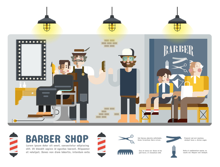 male grooming: Barber Shop, Illustration of people and element in barber shop.