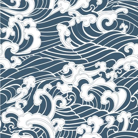 Het naadloze Patroon van Ocean Waves hand getekend Japan stijl op een blauwe achtergrond