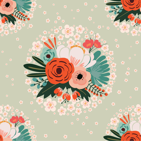 Naadloze bloemenpatroon vintage stijl Stock Illustratie