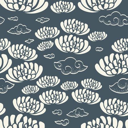 japanese garden: Flower seamless pattern vintage style