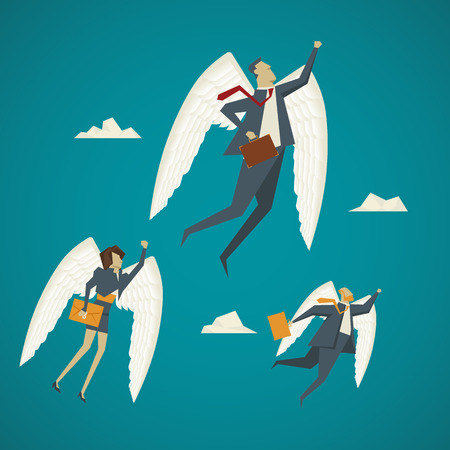 business flying: Business concept. Businessman with wings flying up to the sky. Illustration