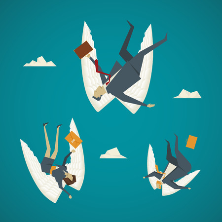 stock market crash: Business concept. Business people wings are falling from the sky.