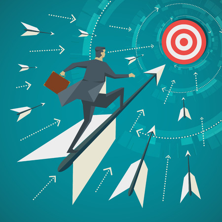 Business concept. Businessman standing on the arrows that are shot for goal. Stock Illustratie
