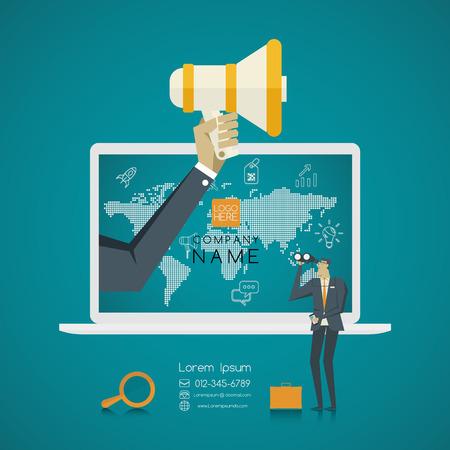 Business concept. Mensen uit het bedrijfsleven op zoek naar een baan in Internet Stockfoto - 56771017