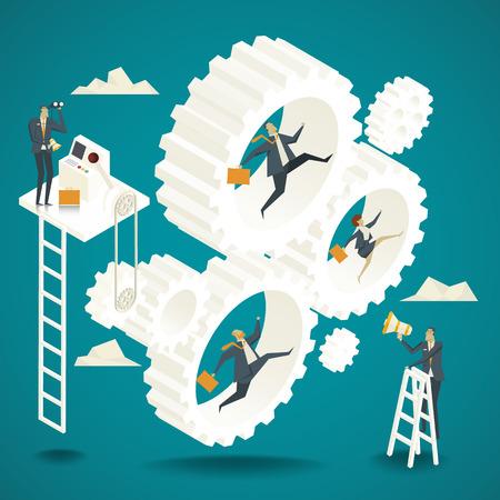 Business concept. Business team springen terugslag Gecontroleerd door senior overheid ministerie Stockfoto - 59131411