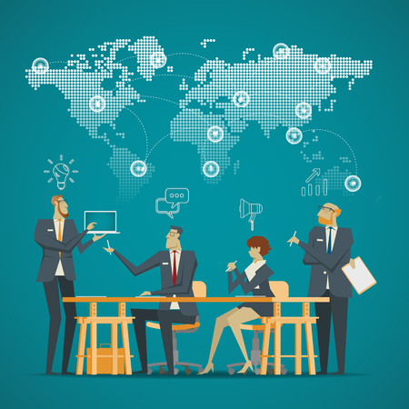 Business Concept. A new generation of business team in a meeting. Stock Illustratie