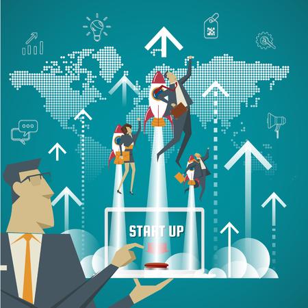 Concepto de negocio. Expertos en negocios de inicio concepto crean nuevos modelos de negocio. Ilustración de vector