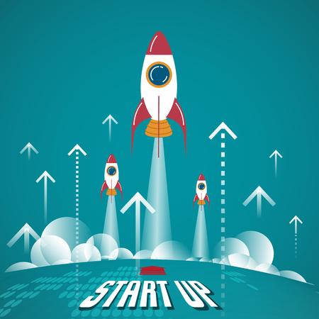 Start Up Concept. Les nouvelles entreprises nés sur cette planète.