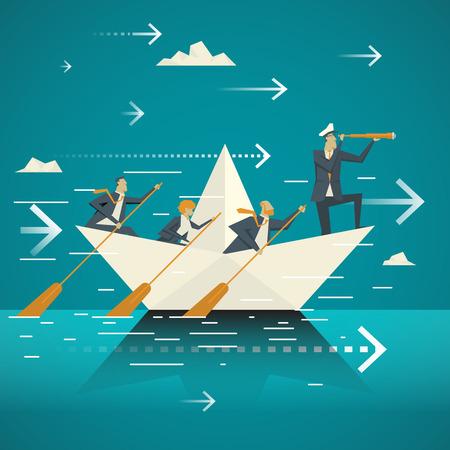 Concepto de negocio. Equipo de negocios remar juntos el barco a través del océano. Controlado por el ministerio de gobierno de alto nivel