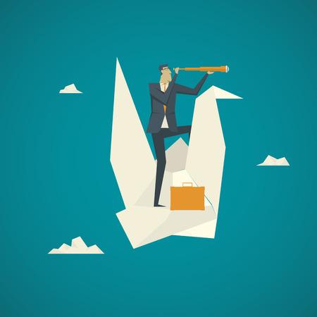Business Concept. Zakenman met een verrekijker op een papieren vogel die in de lucht vliegt. Stockfoto - 59131364