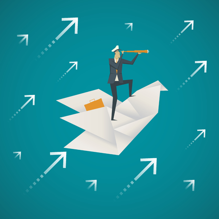 Business Concept. Zakenman met behulp van een verrekijker op een papieren vogel vliegen in de lucht. Stockfoto - 59131379