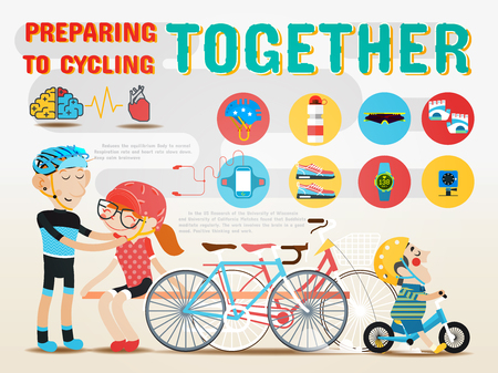 preparing: Preparing to cycling together.