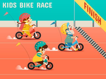 아이들은 자전거 경주, 소년, 소녀가 자전거를 경주하고 일러스트