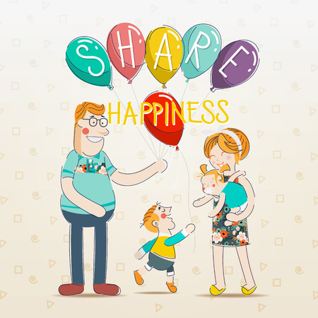teaching children: Sharing Happiness. Parents are teaching children about sharing. Brother divides balloons sister. Illustration