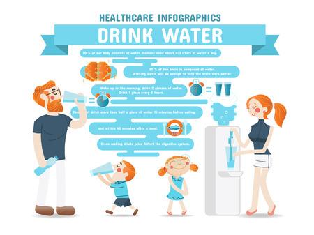 Drink Water Healthcare Infographics Vettoriali