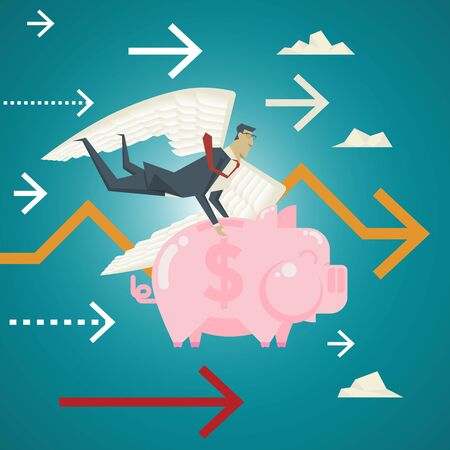 Business Concept, Businessman with wings holding a pink piggy bank flying over carefully. Oversee the investments of the customers as well.