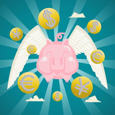 Business Concept, Smiling piggy bank with coins currency wings.
