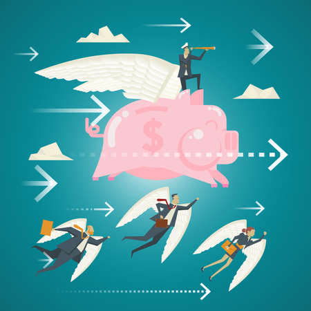 Business Concept, A team of business professionals from the sky with wings smiling piggy bank.