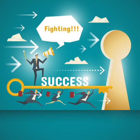 unlocking: Business Concept, team of business professionals committed to carrying the key to unlocking the door to success. Illustration