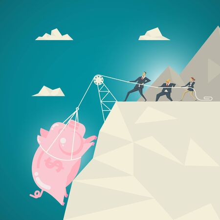 Business Concept, Business team helped pull the pink piggy bank. Up from the bottom of the abyss Illustration