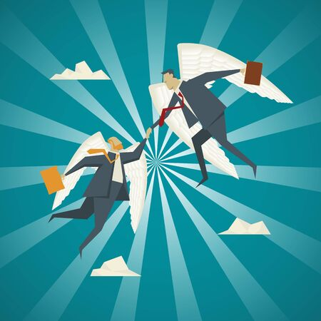 a fellow: Business Concept, Businessman with wings extended to help pull fellow business people.