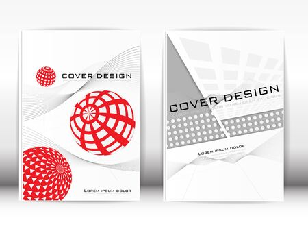 book design: Cover Design Template Publication A red and gray graphics on a white background.