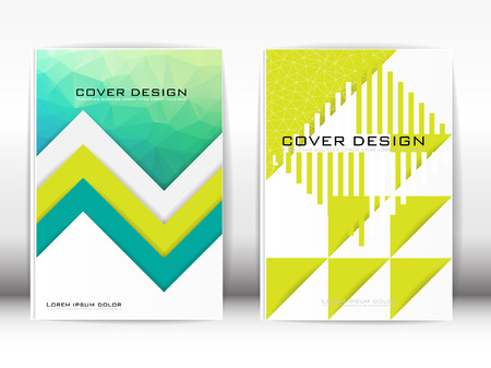 publication: Cover Design Template Publication Polygon Triangular shape and graphics, green, yellow on a white background.