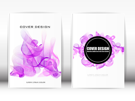 publication: Cover Design Template Publication Lines like purple smoke on a white background. Illustration