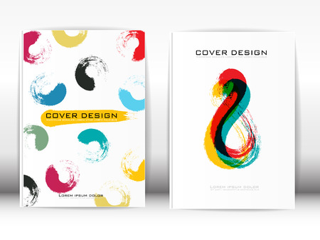 publication: Cover Design Template Publication Paint brush with a colorful pattern on a white background.