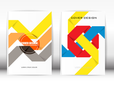 Cover Design Template Publication Geometric multicolored paper-like harmony on a white background.