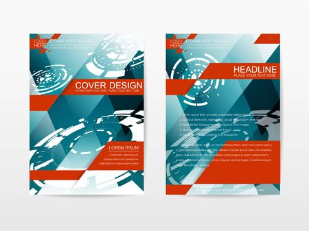 publication: Corporate Template Publication Cover Design Blue and red themes color