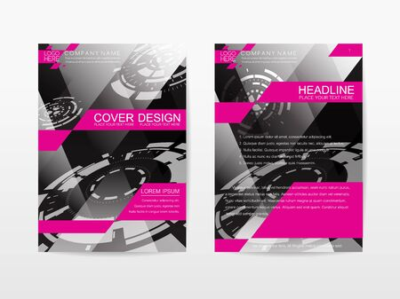 publication: Corporate Template Publication Cover Design black and pink themes color