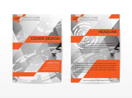 business report: Corporate Template Publication Cover Design gray and orange themes color