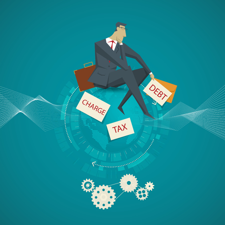 salary man: Business Concept, Businessman sitting on the dismal salary is not enough to pay monthly.