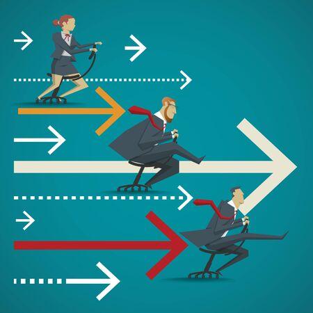 Business-Konzept, visuelle Vergleich der Wettbewerbsfähigkeit von Unternehmen im Büro. Speed-Rennen von Stuhl sitzen.