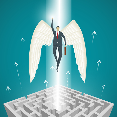 break out: Business Concept, Businessman with wings flying up out of the maze, to break out of the impasse.