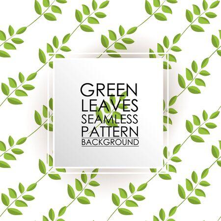 Patrón sin fisuras de té verde deja el fondo. Ilustración de vector
