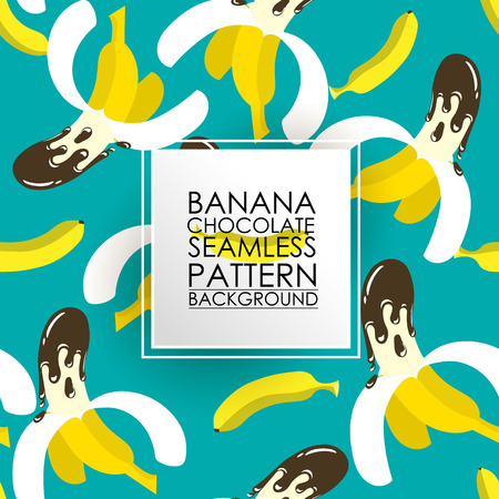 dipped: Pattern Seamless fruit background. Banana dipped in chocolate.