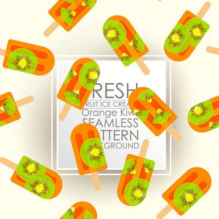 Patrón sin fisuras fresco helado de fruta de kiwi fondo naranja.