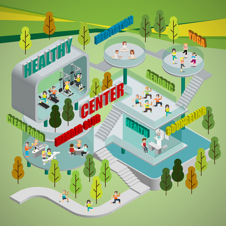 健康センターのインフォ グラフィック  イラスト・ベクター素材