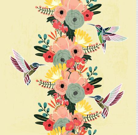 wedding backdrop: Flower and  Hummingbird seamless pattern vintage style